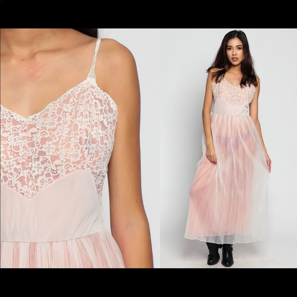 Pink Lingerie SHEER Nightgown 70s Lace Slip Dress Maxi PLEATED Vintage Medium